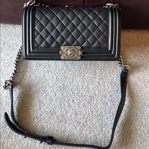 CHANEL Bags - Chanel Boy Double Flap In Medium Black
